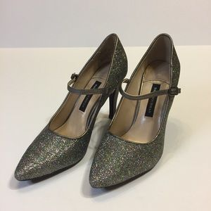 Dana Buchman silver sparkly pointed toe heels